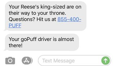 goPuff notification text
