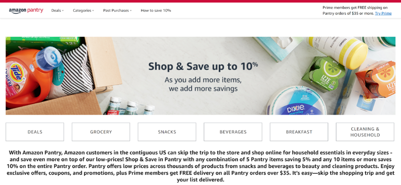 Prime Pantry home page