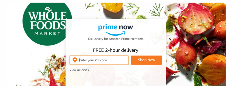 Prime Now home page