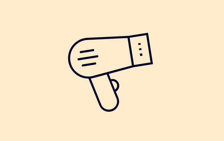 Hair dryer icon on yellow background