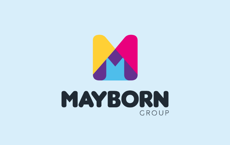 Mayborn Group logo on light blue background