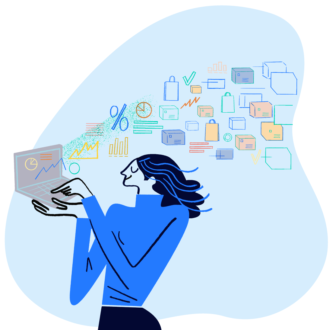 illustration of a woman holding a laptop, with a stream of data, charts, and product purchases