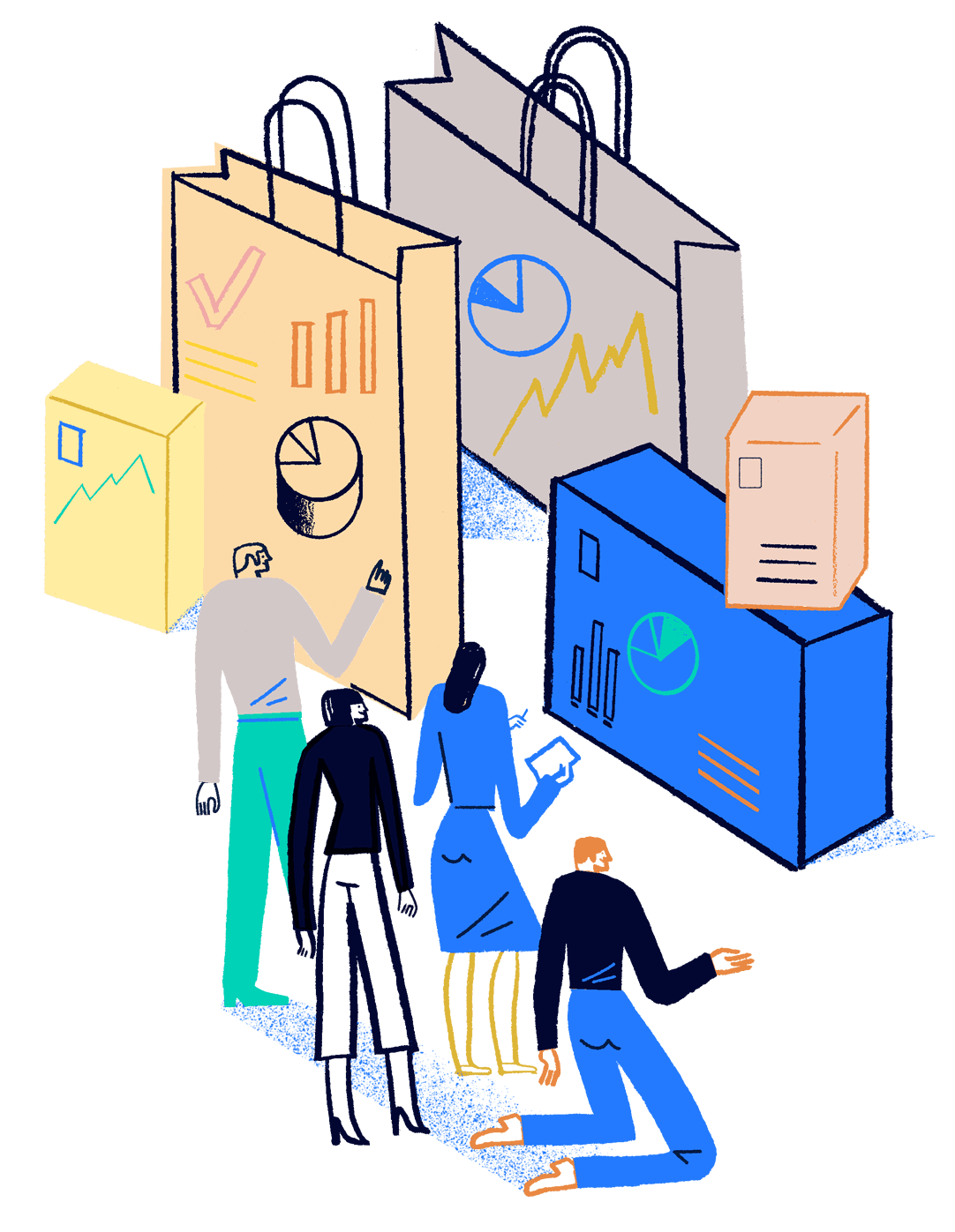 illustration of 4 people looking at data and charts on large shipping boxes and shopping bags