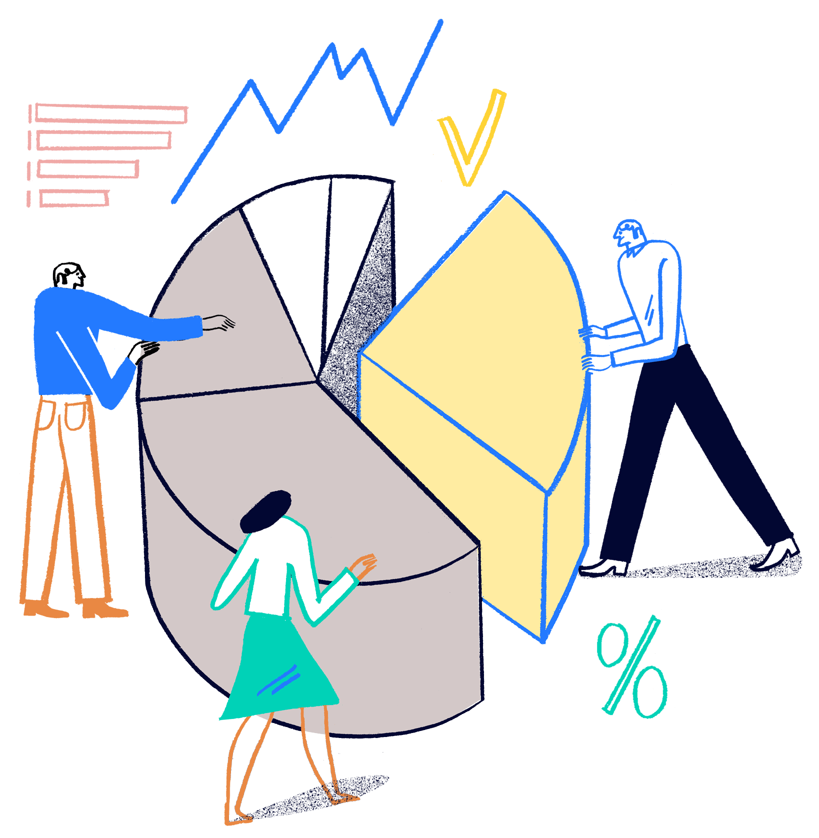 Illustration of 3 people taking pieces of a pie chart, surrounded by data